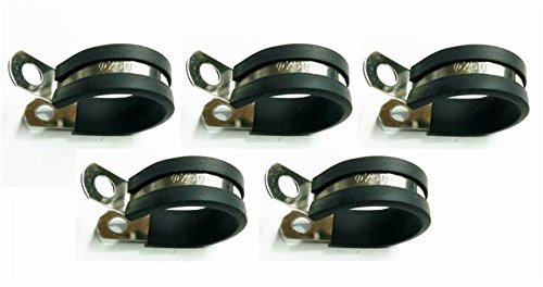 5x-Marine-Grade-Stainless-Steel-Rubber-Lined-P-Clip-25mm-Hose-Pipe-Clamp-M6-Hole