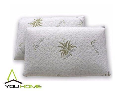 Youhome - coppia cuscini 100% memory foam soft medical, ecologico, fodera aloe vera traspirante, ipoallergenico, antiacaro, atossico, memorizza la forma del collo, ortocervicale h13