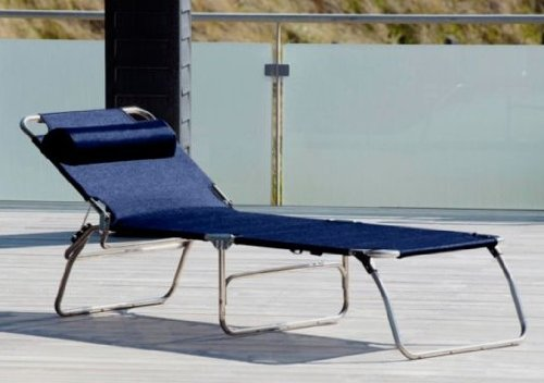Klappliege fiam jan kurtz chaise longue à 3 pieds aMIGO bIG textilène dunkelblau bleu