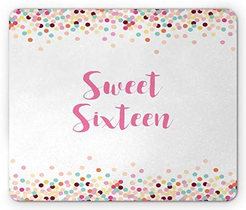 WYICPLO Sweet 16 Mouse Pad, Decorative Soft Pastel Colored and Dotted Frame for Teenager Birthday Celebration, Standard Size Rectangle Non-Slip Rubber Mousepad, Multicolor