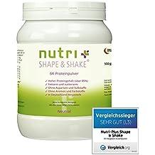 TESTSIEGER: Nutri-Plus Shape & Shake Neutral 500g - 6k Eiweißpulver ohne Süßstoff & Aromen - Mit Whey-Isolat + Casein - Low-Carb - mit Dosierlöffel