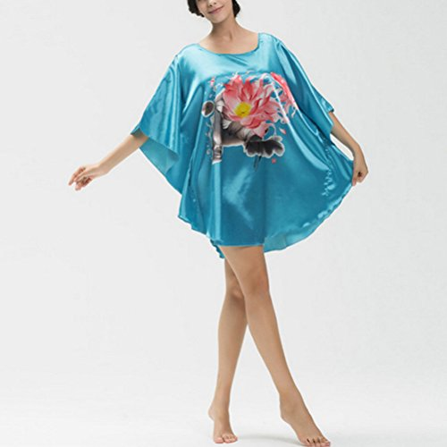 Zhhlaixing Donna Raso Loose Round Neck Slip Nightie Camicia da Notte Nightdress Sleepwear K