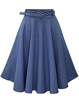 Mujer Faldas Vaquera Cintura Alta Falda Plisada Corto Vestidos De Fiesta Azul Claro FreeSize