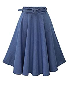 Donne Gonna A Pieghe Scampanata Eleganti Gonne Jeans Dress Azzurro Chiaro FreeSize