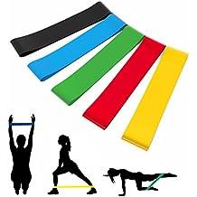 Bandas Elásticas de Resistencia, 5 Cintas para Hacer Ejercicio con 5 Niveles de Fuerza, Cintas Elásticas para Yoga, Pilates, Crossfit, Fitness, Entrenar a Corporal Piernas Glúteos en Gimnasio Casa