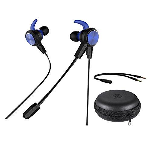 Wired Gaming in-Ear, qltech in-Ear Gaming Kopfhörer Stereo-Kopfhörer mit abnehmbarem & Noise Cancelling Mikrofon, mit Chat Headset für Smartphone PC E-Sport-Xbox One PS4Nintendo Schalter (blau) Block Ipod