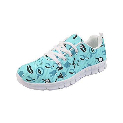 HUGS IDEA Women's Lightweight Athletic Running Shoes Dental Tool Print Workout Gym Jogging Walking Sneakers