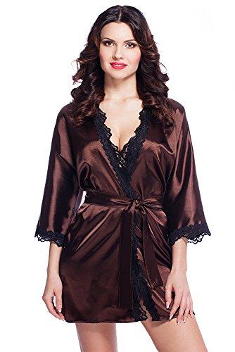 Edler Morgenmantel Kimono aus Satin mit Spitze Größen S-XXL (S, VA65/Schokolade) (Schokolade Kimono)