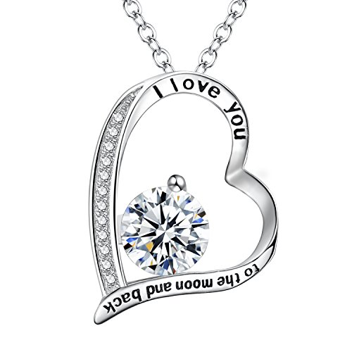 "FANZE Damen 925 Sterling Silber CZ ""I Love You To The Moon and Back"" Herz Pendant Halskette"