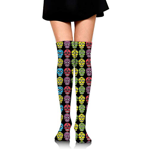 Girl Halloween Mexican Sugar Skull Knee High Fashion Comfortable Boots Socks Cotton Athletic Over The Knee Tube Socks Thigh High Stockings for Great Gifts ()