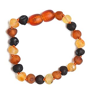 Raw Amber Bracelet - Anklet - 100% Authentic Baltic Amber - Handmade Jewelry - Mixed Colors (16 cm)