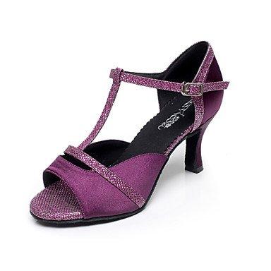 Ruhe @ Damen Tanzschuhe Latin/Salsa Satin Flared Ferse schwarz/violett Violett