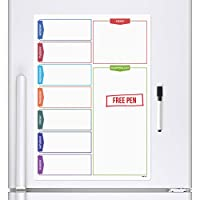 CKB LTD® COLOUR SHOPPING Magnetic Fridge Board With Marker White Board & Pen - Drywipe Magnet Whiteboard Kitchen Office Memo Notice Board Large A3 Meal Daily Planner