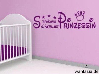 Mini Wandtattoo für Mädchen, Text Süße Träume Prinzessin -