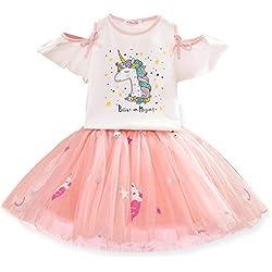 NNJXD Conjunto de Ropa para Niñas, Camiseta Unicornio Tops de Niña con Vestido de Fiesta de Cumpleaños de Princesa de Tul 6-7 Años Unicornio Blanco