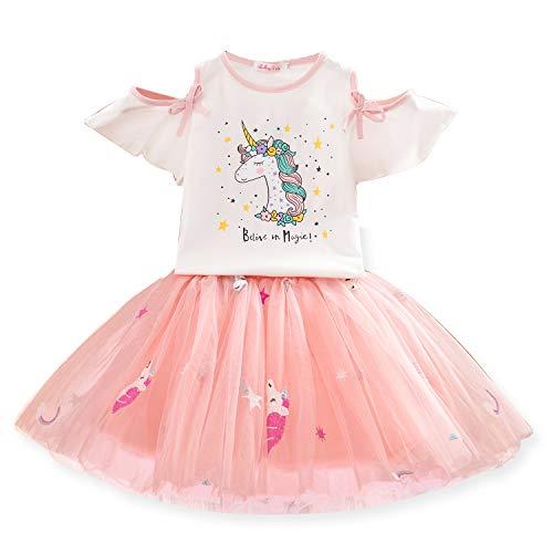 TTYAOVO Mädchen Kleidungs Set, Mädchen Einhorn Muster T-Shirt Tops mit Tüll Prinzessin Geburtstag Party Kleid 3-4 Jahre Weiß-Einhorn