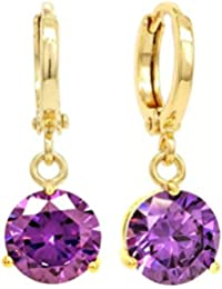 Genuine 18K yellow gold plated drop/dangle raindrop earrings with clear white gemstones with black jewellery box