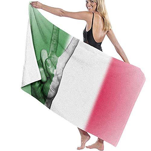 INPUPU-Bench/Bath Towel Italien Italienische Flagge Mikrofaser Handtuch, Quick Dry Strandtücher, leichte Strandtücher-Portable für Reisen, Yoga, Sport, Camping (80x130 cm) -