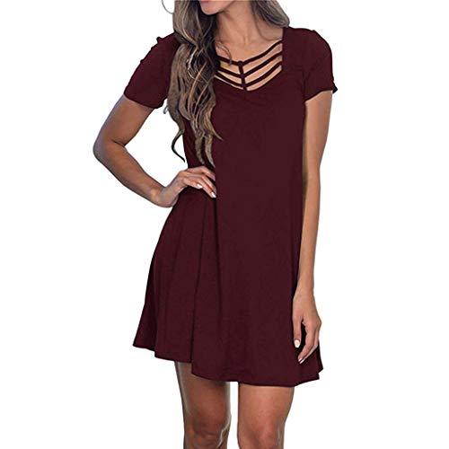 BHYDRY Frauen Sommer Kurzarm Swing T Shirt Kleid Criss Cross Ausschnitt Casual Dress(X-Large,Wein) - Silber Glanz Maxi-kleid