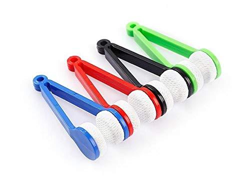 FTVOGUE Mini-Sonnenbrillen-Brillenreiniger, Mikrofaser, weiche Bürste, Reinigungswerkzeug, Mikrofaser, Brillenreiniger, Clip rot