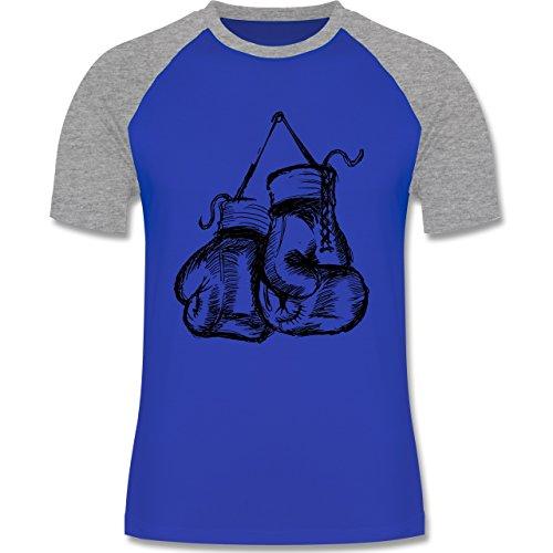Kampfsport - Boxhandschuhe - zweifarbiges Baseballshirt für Männer Royalblau/Grau meliert