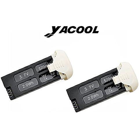 Yacool® 2 X cantidad de Hubsan X4 H107C+ -02 Plus batería Set w / compartimiento cubierta 3.7v 520mAh