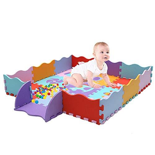 HEIRAO Tappetino Soft Foam per Bambini e Neonati, 9 stuoie e 14 recinti