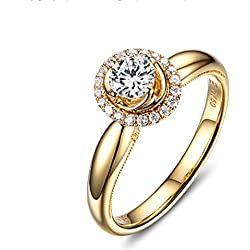 Gnzoe 18K (750) Oro Mujeres Anillo de Diamante Anillo Solitario Anillos de Aplicaciones Corona Flores Amarillo con Blanco Azul 1ct Diamante Tamaño 20