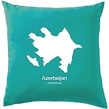 """L'Azerbaïdjan Silhouette Coussin–41x 41cm (40,6cm)–10couleurs, 100 % coton, turquoise, 41 x 41cm (16"""")"""