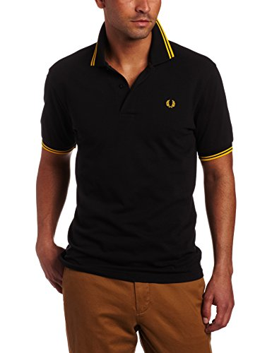 FRED PERRY TWIN TIP POLO BLACK/NEW YELLOW in Groesse: M