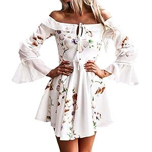 i-uend 2020 neues Kleid für Frauen, Frauen Lange Ärmel Schulterfrei Boho-Kleid Abend Party Strand Kleider