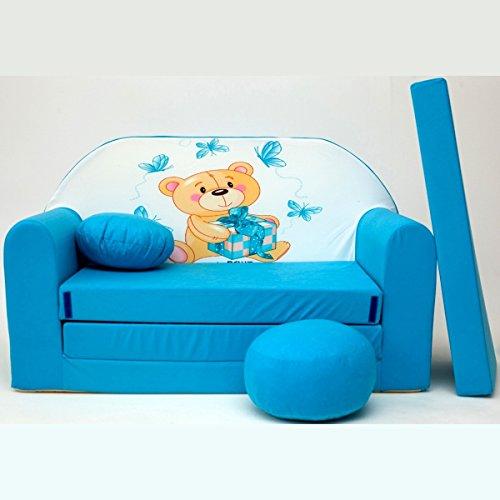 Minicouch Kindersofa Babysofa Sofa Set Sitzkissen Matratze weiche Velours verschiedene Farben (B3 blau Teddy mit Geschenk)