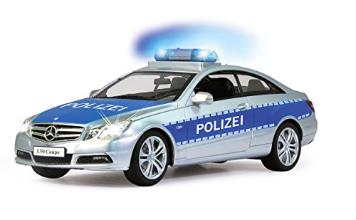 Jamara 410023 - Mercedes E350 Coupe 1:16 Polizei 2,4GHz - deutsche Polizeisirene, Alarmanlage, Startton, Beschleunigungston, Bremston, Hupe, Zusperrton, Signalleuchte, Blinker, 4 Geschwindigkeiten - 6