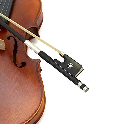 arbon Geigenbogen aus Carbon Violinenbogen Bogen für Geige Violine mit Pariser Auge und Ebenholzfrosch (Carbon Bogen Violine)