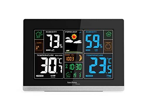 Technoline WS 6462 Funkwetterstation, Innentemperatur, Außentemperatur, Luftfeuchte, Luftdruck, Tendenzanzeige, Taupunkt, Farbdisplay, Funkuhr, Mondphasen Hochglanz-schwarz