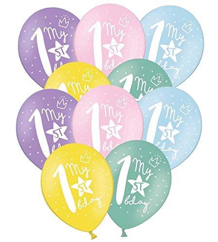 Libetui 10 Starke Pastel Luftballons 30cm Deko zum 1. Geburtstag Party Kindergeburtstag Dekoration mit Stern & Aufdruck ' My 1st Birthday '