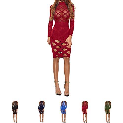 Minzhi Donne prospettiva scava fuori vedi attraverso Bodycon Bandage Club stretto mini abito vino rosso