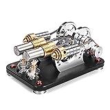 MRKE Stirlingmotor LED Bausatz Metall 2 Zylinder Bootfähig DIY External