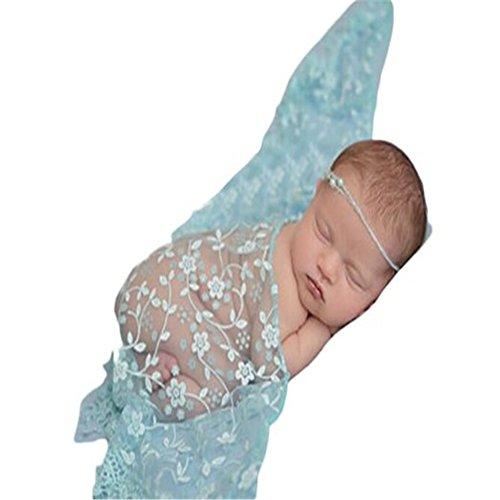 Infant Newborn Baby Girl Boy pizzo filato maglia stretch Wrap Coperta fotografia props