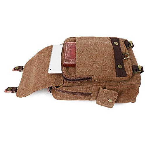 S-ZONE Die Jenigen Fallen Vintage durch Körper Leinwand 13 Inch Laptop Umhängetasche Schultertasche Rucksack (Dunkelgrau-Zipper-Schulter) Kaffee-Reißverschluss-Schulter