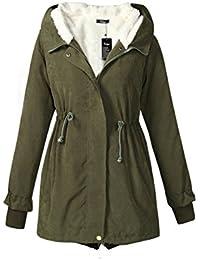 De manga larga YACUN mujeres espesar cálida capucha Parka abrigo