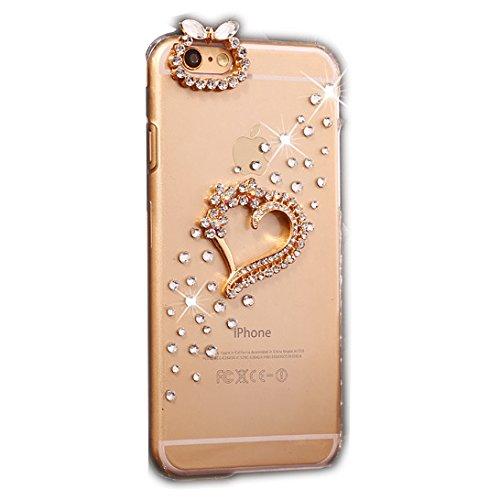 iPhone 6S Coque, Sense-TE Luxueux 3D Handmade Crystal main étincelle Glitter strass dans diamant couverture clair transparent avec rétro bowknot anti poussière plug - Sweet Heart Pendentif Ours Lovers Coeur bowknot