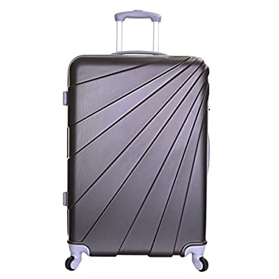 Slimbridge Fusion Extra Large XL Super Lightweight ABS Hard Shell Travel Check In Hold Luggage Trolley Suitcase with 4 Wheels, Graphite - suitcases