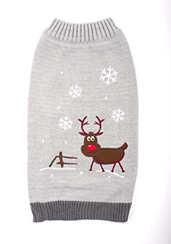 Ancol GREY Dog Winter Sweater with Reindeer and Snowflakes (Large (980539))