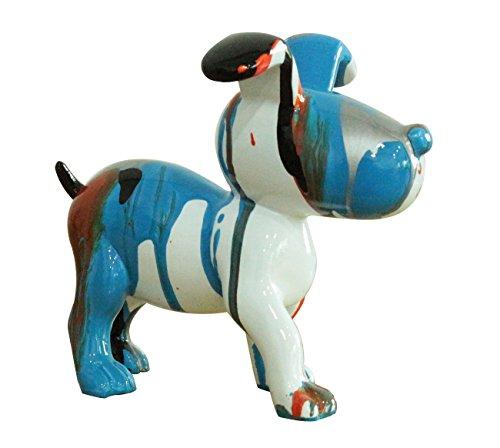 Petit Chien Sculpture décorative Bleue et Noire - Design Moderne Contemporain
