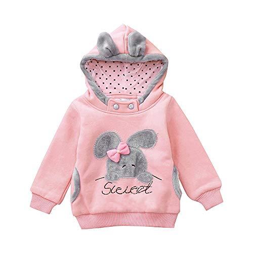 Kobay Kleinkind Kinder Baby Mädchen Langarm Cartoon Kaninchen Kapuzenpullover Pullover Tops(4-5T,Rosa)