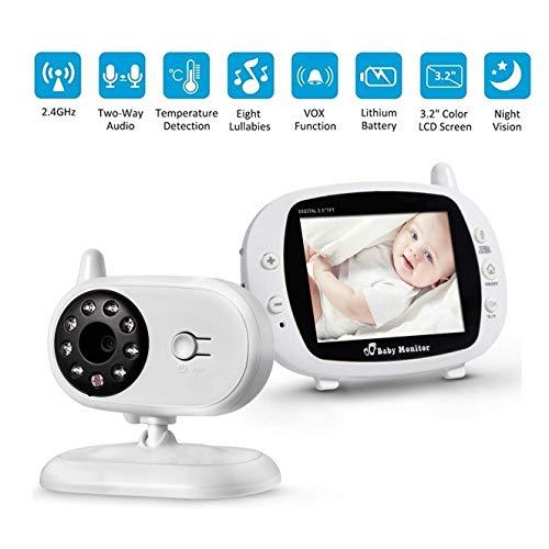 BABY MONITOR ZLMI Dispositif de Soins sans Fil pour bébé Surveillance de Nuit Vision Nocturne Lullaby Surveillance de la température ambiante Interphone bidirectionnel 2.4g