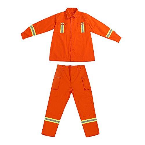OWSOO Set di Abbigliamento Antincendio, Vestiti Antincendio Protettivi, Abbigliamento da Combattimento Ignifugo Impermeabile Heatproof Ritardante di Fiamma Vestiti, 185CM