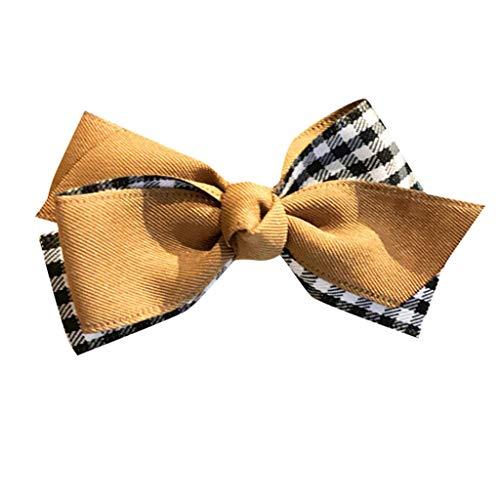 Baumwolle Plaid Khaki (Bowknot Haarspange Haar Klammer Combi-Clip Karte Hairclips Abteilklammern Hair-Clips Combi aus Kunststoff Elegantes Haarnadeln College Plaid Haarschmuck(Khaki.Frauen))