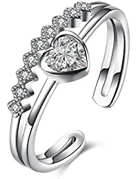 6e3888a4f dc jewels Sterling Silver Plated 24K Heart Shape Adjustable Ring for Women